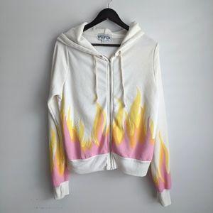 Wildfox 🔥 Pink Flame Hoodie Zip up Jacket Small